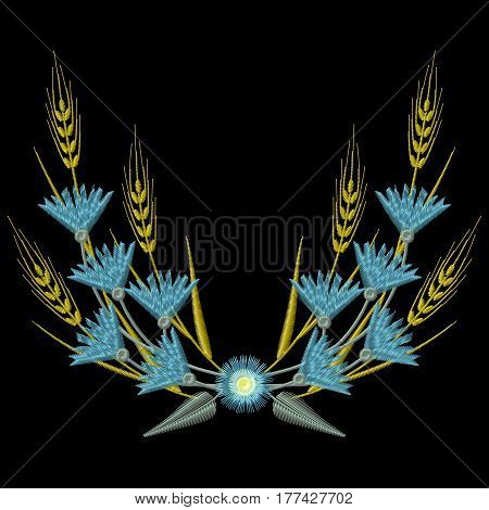 Embroidery Wheat ears and blue Cornflowers. Vector illustrations
