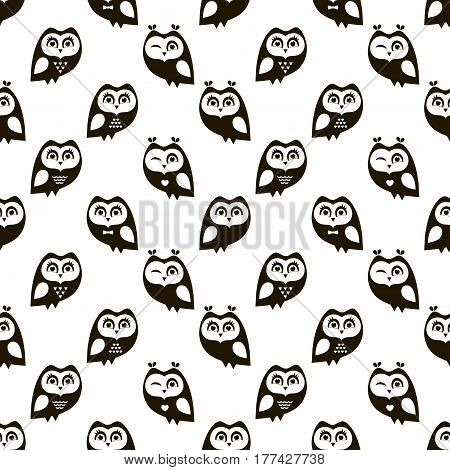 seamless pattern with funny cartoon black owls