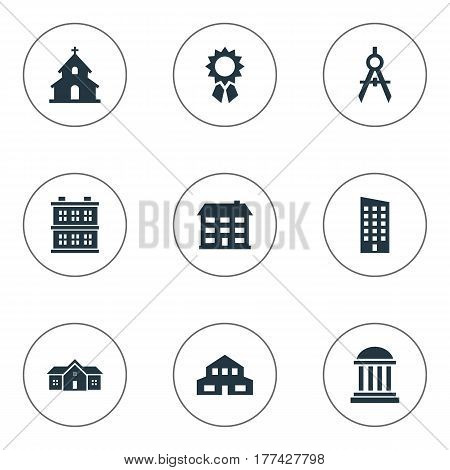 Vector Illustration Set Of Simple Structure Icons. Elements Residence, School, Floor And Other Synonyms Premises, Cottage And Museum.