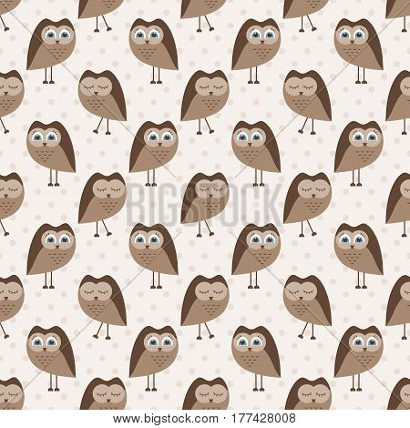 seamless pattern with cute cartoon brown owls