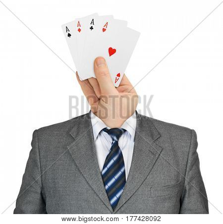 Hand with cards for head isolated on white background
