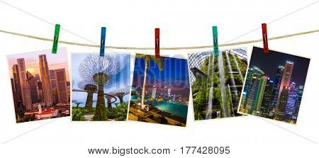 Singapore travel images (my photos) on clothespins isolated on white background