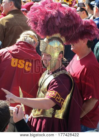USC Trojan Mascot at a Pier, Chicago the day prior to Notre Dame's homecoming game, October 21, 2011