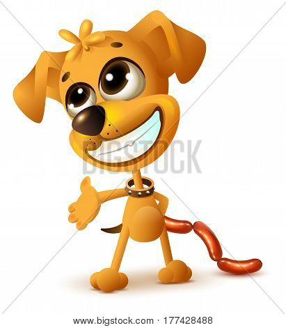 Funny yellow puppy hides sausages. Isolated on white vector cartoon illustration