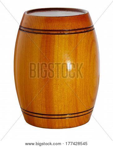 Cask. Wooden varnished barrel. Isolation on white background