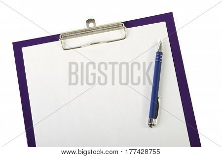 A piece of blank paper and pen on clipboard closeup isolated on white