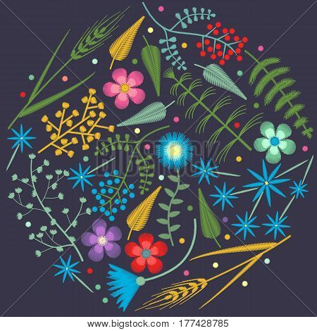 Embroidery round pattern with Forest plants and Field wildflowers. Vector illustrations