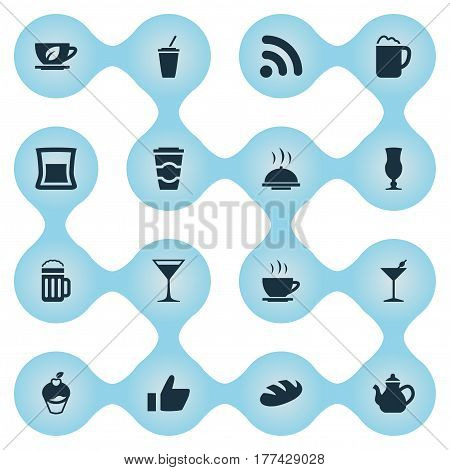 Vector Illustration Set Of Simple Restaurant Icons. Elements Coffee Late, Pub, Beer And Other Synonyms Hot, Favorite And Glass.