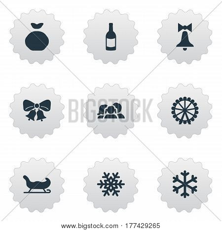 Vector Illustration Set Of Simple Celebration Icons. Elements Bag, Christmas Decoration, Decoration And Other Synonyms Drink, Folk And Carouse.