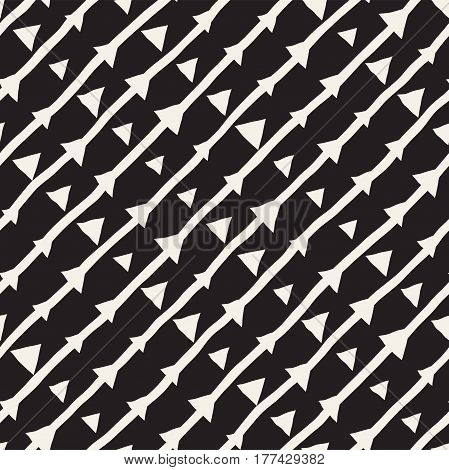 Vector Seamless Childlike Pattern. Abstract Background With Brush Lines. Monochrome Hand Drawn Geometric Shapes Texture