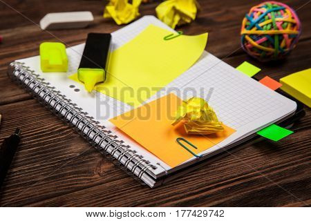 Open notepad with sticky notes mockup