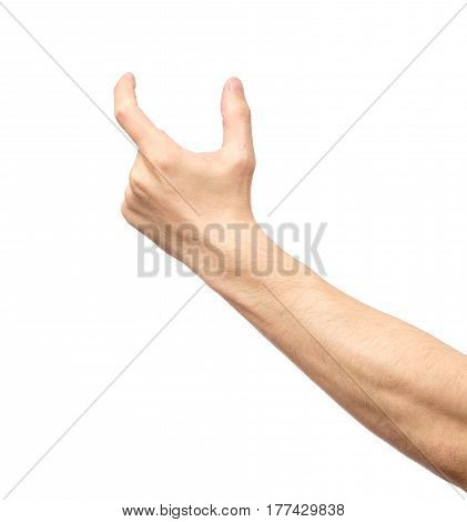Man Hand's Measuring Invisible Item Isolated