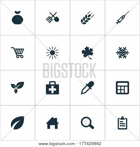 Vector Illustration Set Of Simple Harvest Icons. Elements Syringe, List, Horticulture Equipment And Other Synonyms Virus, Information And Local.