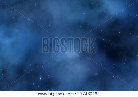 Milk way stars on  a dark sky. 2D render / illustration.