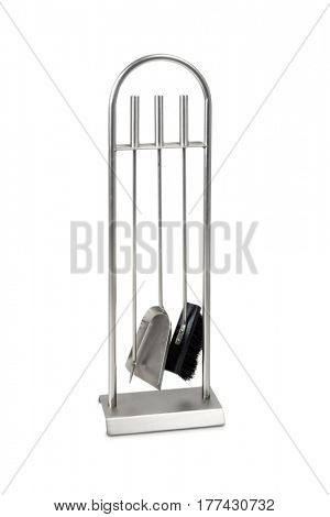 Fireplace tools isolated on white with clipping path.