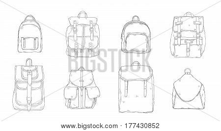 hand drawn realistic contour backpack set, different trendy rucksac collection.
