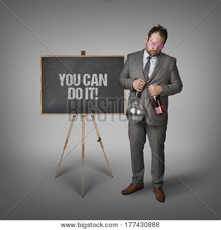 You can do it text on blackboard with businessman and key