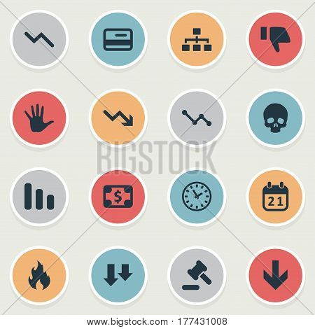 Vector Illustration Set Of Simple Crisis Icons. Elements Downward, Down Cursor, Fire And Other Synonyms Finger, Palm And Dollar.