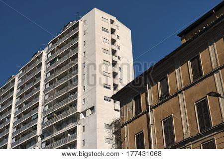 Milan (Lombardy Italy): facade of modern and old buildings along via Francesco Ferruccio