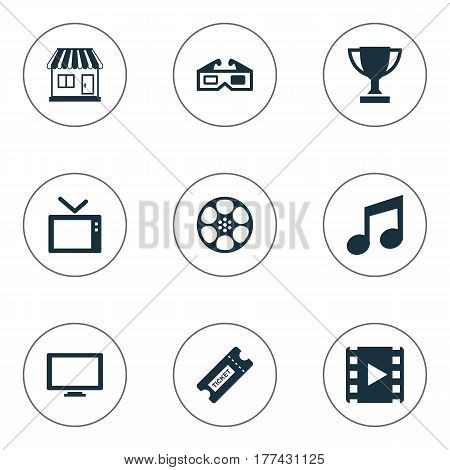 Vector Illustration Set Of Simple Movie Icons. Elements Reel, Filmstrip, 3D Glasses And Other Synonyms Television, Layout And Ticket.