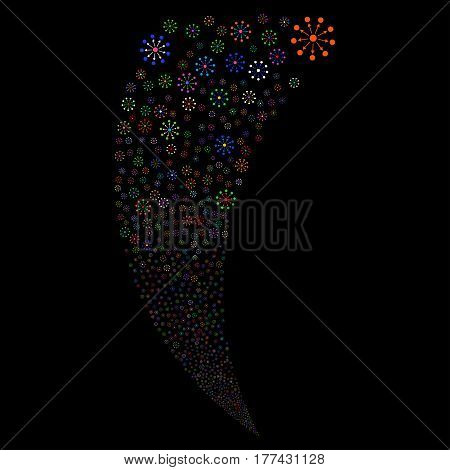Expanse random fireworks stream. Vector illustration style is flat bright multicolored iconic symbols on a black background. Object fountain constructed from scattered pictographs.