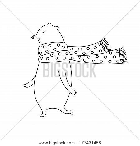 Linear cartoon animal illustration with sweet bear in scarf. Cute vector black and white animal illustration. Doodle monochrome animal illustration for prints, posters, t-shirts and cards.