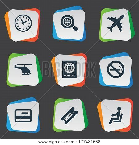 Vector Illustration Set Of Simple Plane Icons. Elements Seat, Cigarette Forbidden, Credit Card And Other Synonyms Helicopter, Stop And Search.