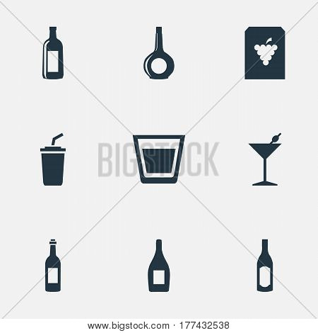 Vector Illustration Set Of Simple Beverage Icons. Elements Cup, Vine, Cocktail And Other Synonyms Grape, Drink And Plastic.