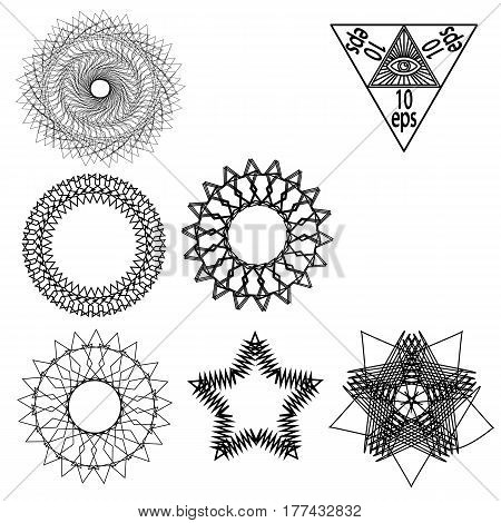 Set of cut vector constructions and figures isolated on a monophonic forum.10 eps.