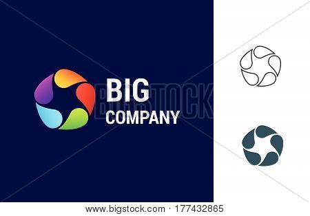 Big Company is a vector logotype template for ecological, industrial or finance business. Star and drops simple illustration.