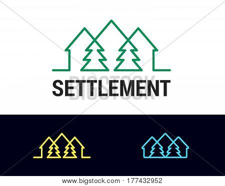 Settlement is a vector logotype template for real estate, construction, building, development, ecological business company. House and pine pattern and icons.