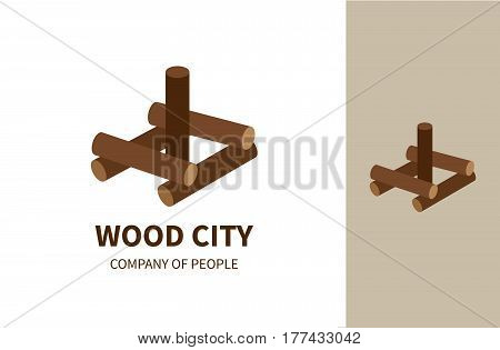 Wood City is a vector logo idea for toy production company, family activities or eco building business. Simple illustration of tradicional games.