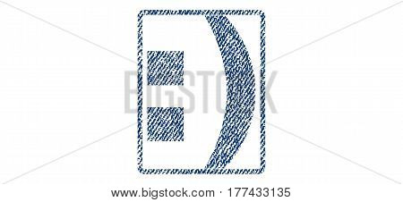 Colon text textile seal stamp watermark. Blue jeans fabric vectorized texture. Vector tag inside rounded rectangular shape. Rubber sign with fiber textile structure.