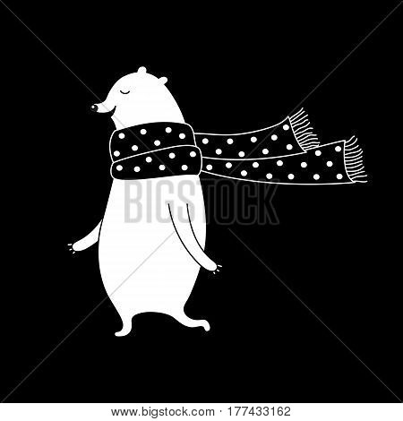Cartoon animal illustration with sweet bear in scarf. Cute vector black and white animal illustration. Doodle monochrome animal illustration for prints, posters, t-shirts and cards.