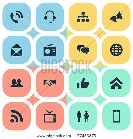 Vector Illustration Set Of Simple Social Icons. Elements Thumb, Partner, Megaphone And Other Synonyms Letter, Epistle And Television.