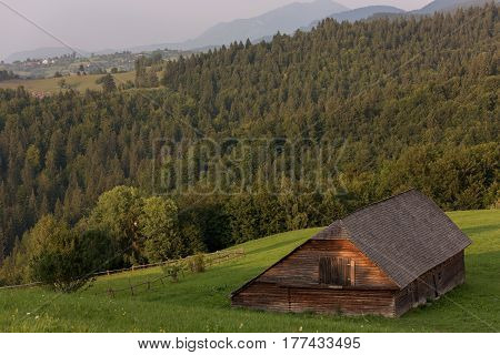 Summer traditional romanian scenic, in Carpathian Mountains