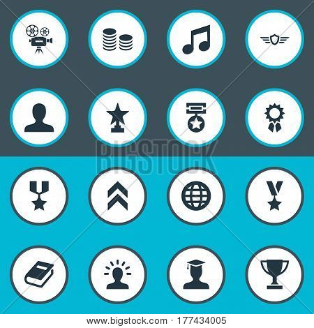 Vector Illustration Set Of Simple Awards Icons. Elements Melody, Award, Growth Diagram And Other Synonyms Trophy, Currency And Earth.
