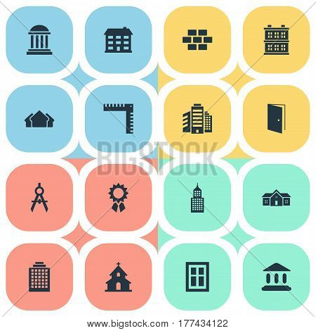 Vector Illustration Set Of Simple Structure Icons. Elements School, Glazing, Engineer Tool And Other Synonyms Glazing, Reward And Booth.