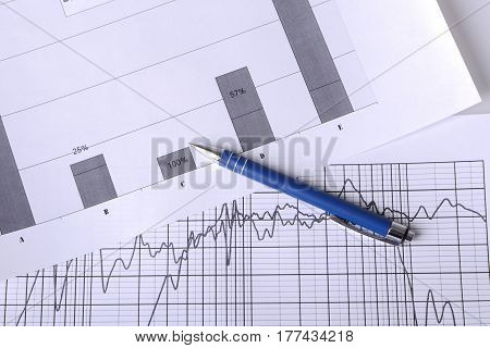 Close up shot of a pen on stock price chart