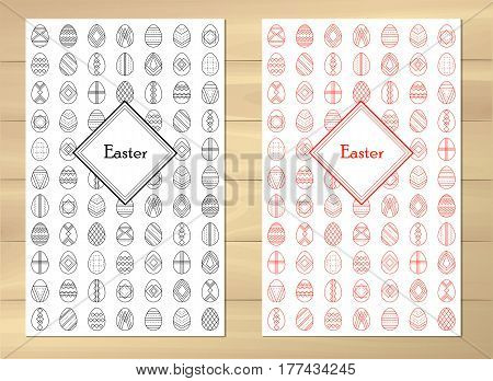 Bright background. Handwriting inscription Happy Easter. Template vector card with eggs. Lettering, calligraphy. illustration