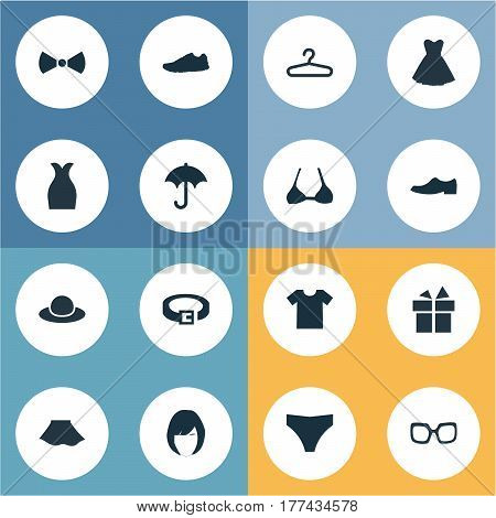 Vector Illustration Set Of Simple Wardrobe Icons. Elements Brasserie, Strap, Present And Other Synonyms Briefs, T-Shirt And Running.