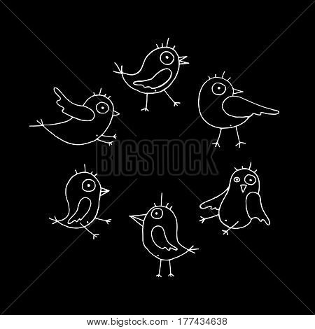 Linear cartoon hand drawn birds collection. Cute vector black and white birds collection. Isolated monochrome doodle birds collection for any project.