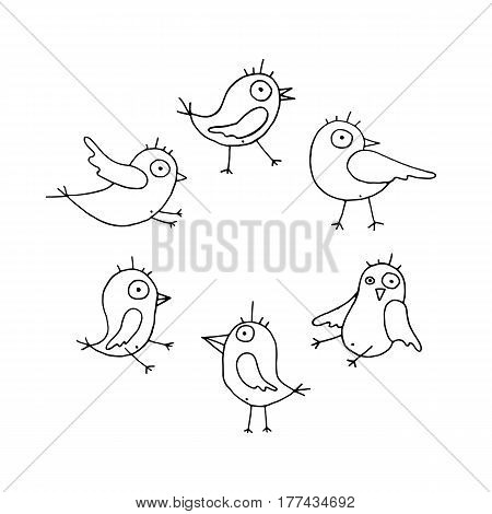 Linear cartoon hand drawn birds set. Cute vector black and white birds set. Isolated monochrome doodle birds set on white background.