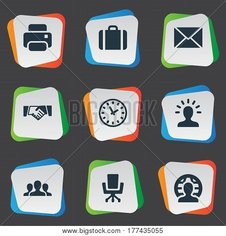 Vector Illustration Set Of Simple Commerce Icons. Elements User, Work Seat, Group And Other Synonyms Machine, Chair And Group.