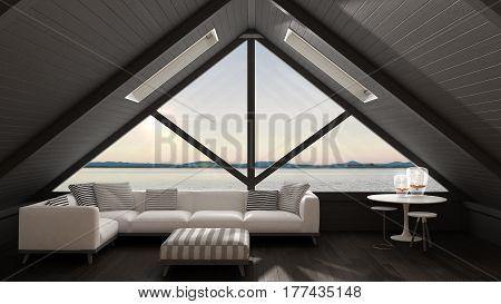 Classic Mezzanine Loft With Big Window And Sea Panorama, Living Room, Summer Sunset Or Sunrise, Mini