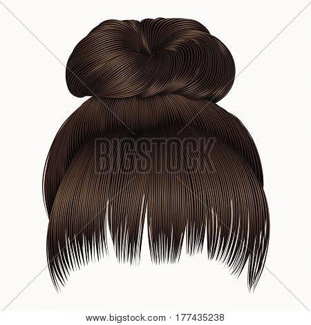 bun  hairs with fringe dark  brown colors .  women fashion beauty style .