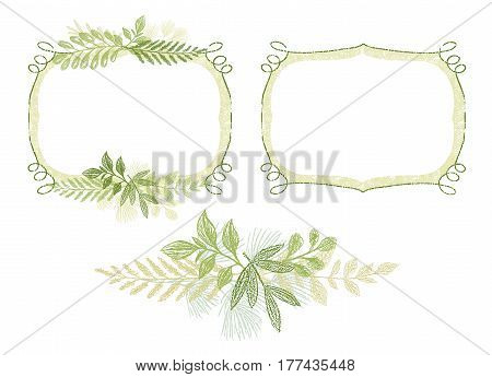 Green scrabble hand drawn branch border for invitation, wedding or greeting card design. Greenery plant hand drawn composition, leaves decoration vector.