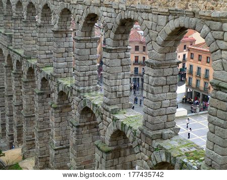 The Well Preserved Roman Aqueduct of Segovia in Spain