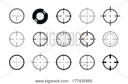 Sniper sight, symbol. Crosshair, target set of icons. Vector illustration isolated on white background
