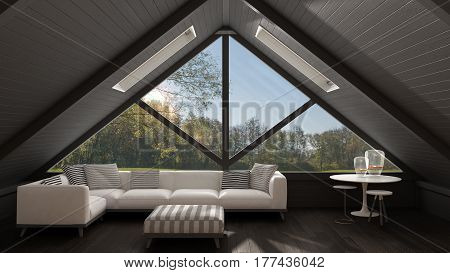 Classic Mezzanine Loft With Big Window And Sea Panorama, Living Room, Summer Or Spring Garden Meadow
